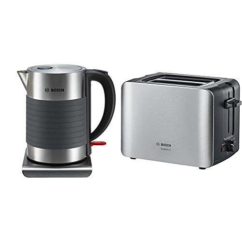 Bosch TWK7S05 kabelloser Wasserkocher, 1,7 L, 2200 W, schwarz/grau & TAT6A913 ComfortLine Kompakt-Toaster, Auftau/Aufwärmfunktion, versenkbarer Brötchenaufsatz, Abschaltautomatik, 1090 W, Edelstahl
