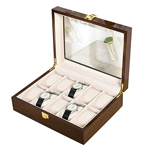 Caja de Almacenamiento de Relojes con 10 Ranuras Estuche para Exhibición de Relojes Organizador de Colección de Pulseras de Madera Maciza Marrón con Tapa de Vidrio