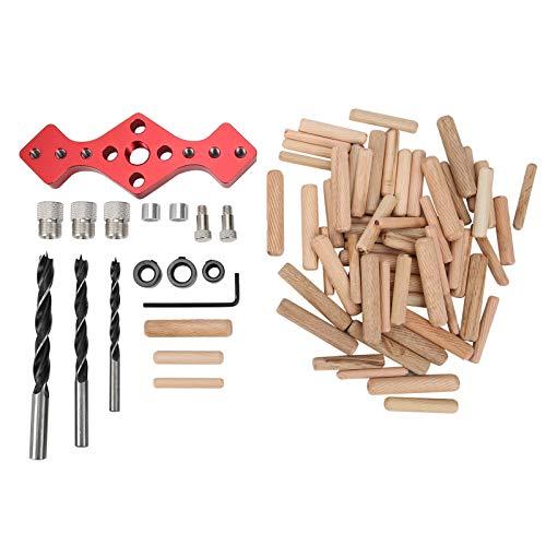 Posicionador de plantilla de aleación de aluminio rojo con localizador de taladro recto para carpintería con puntas de madera de broca