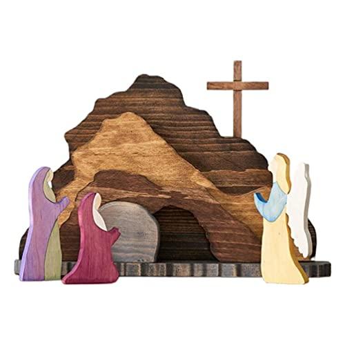 tiantianchaye Décorations de Pâques en bois pour crèche de Noël