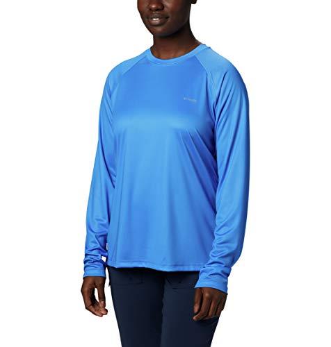 Columbia Tidal Tee PFG T-Shirt à Manches Longues pour Femme Imprimé Triangle Bleu Orage-Tropicale Taille XS