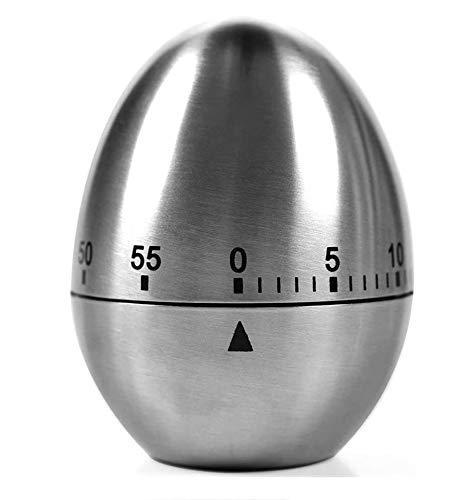 SUPEROK Küchen-Zeituhr,Kurzzeitwecker Eieruhr, geformter mechanischer rotierender Wecker, Eiförmiger Timer aus Edelstahl Mechanischer Rotationsalarm 60 Minuten Countdown-Timer zum Kochen
