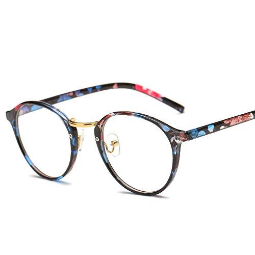 YDXC Gafas de Sol Retro Marco Redondo Lente Transparente Gafas ópticas Marcos Decorativos Gafas Falsas se aplican al Trabajo por Ordenador o Conducir y Otras Actividades al Aire Libre-Flor