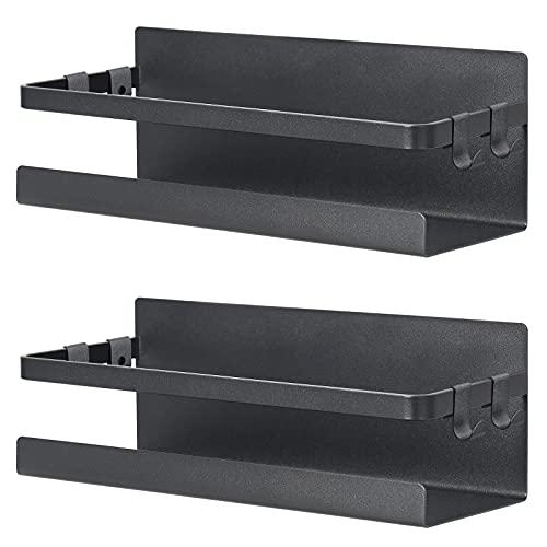 2 Pack Magnetic Spice Rack Organizer,Fridge Metal Storage Shelf Holder with...