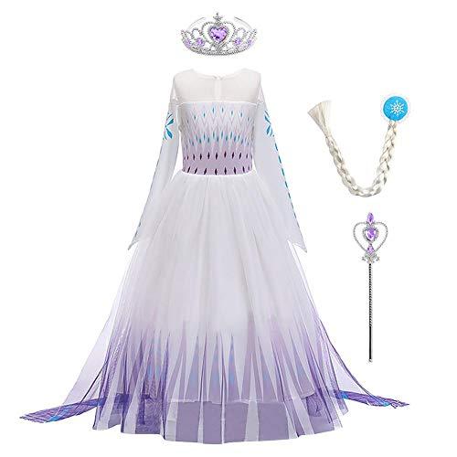 Iwemek 2 disfraces de reina del hielo Elsa para nia, vestido de princesa de nieve, con copos de nieve, vestido de tul, para Navidad, carnaval, fiesta de cumpleaos B-Violeta. 11-12 aos