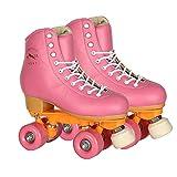 Tmpty Patines para mujeres, 4 ruedas altas de patinaje, botas de doble fila para adultos y jóvenes principiantes (tamaño: 7,5, color: rosa)