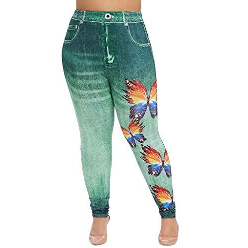 LOPILY Hose Damen Übergröße Schmetterling Druck Treggings Stretchhose Jeans Leggings Farbe Waschung Strumpfhose Große Größen Figurbetonte Jeanshose High Waist Hüfthose für Mollige (Grün, XL)