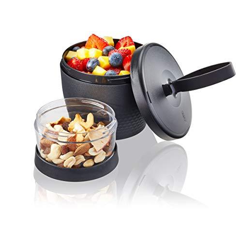 GEFU 12761 Snack Box FOODIE, Müslibecher für unterwegs, Joghurt Salat Suppen, Becher to Go, auslaufsicher, 2 Behälter (570 ml und 185 ml), schwarz