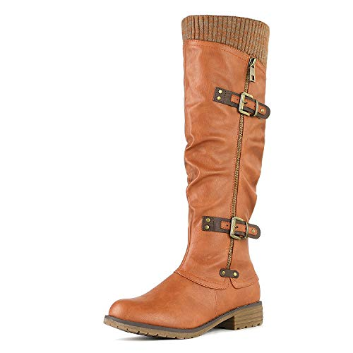 DREAM PAIRS Women's Depp Camel Knee High Boots Size 7.5 B(M) US