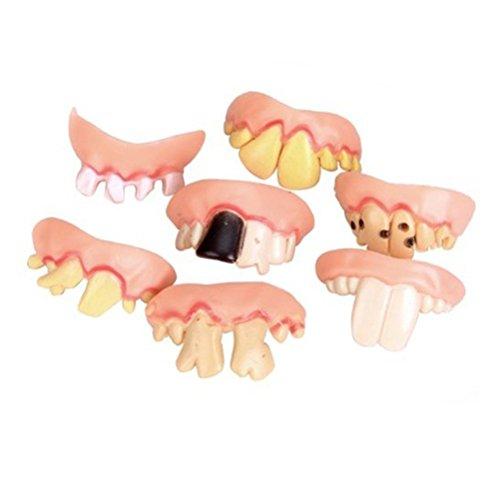 vorcool Wacky Künstliche Zähne falsche Zähne Prop Spielzeug Lustig für Halloween/Easter/Masquerade–5Stück/Set (zufällige Form)
