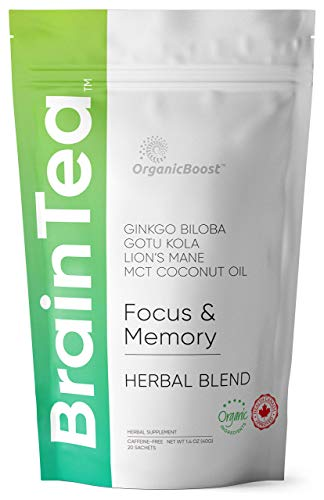 Brain Tea - Organic: Gotu Kola, Ginkgo Biloba, Lion's Mane Mushroom, MCT. Brain Booster for Better Memory & Focus