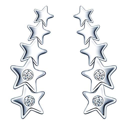 Infinite U - Pendientes de plata de ley 925 para mujer y niña, mini pendientes de estrella incrustados con circonita, plata