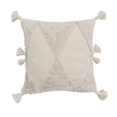 Boji Boho Kissenbezug, Kissen Tufted Tassel Woven Decorative Kissenbezug Für Couch Sofa Schlafzimmer Wohnzimmer Hellgelb Beige 45x45cm 1PC