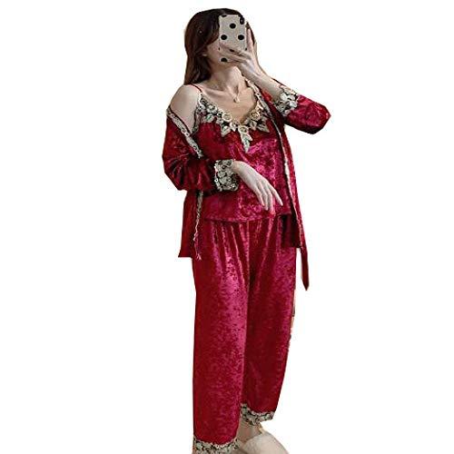 Conjunto de Pijamas cálidos de otoño Invierno para Mujer, Pijamas Sexis de Terciopelo Dorado Profundo, Conjuntos de Pijamas para Mujer, Conjunto de pantalón Largo, Bata para Mujer