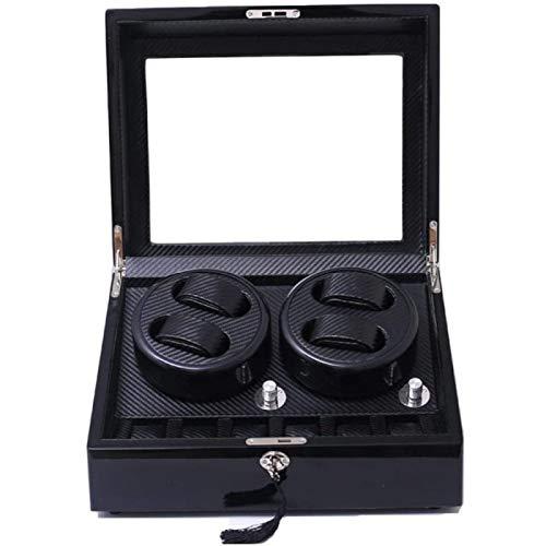 ANZRY Caja De Almacenamiento Automática De MDF para Enrollador De Reloj con Caja De Reloj Bloqueo De 5 Modos De Rotación Y Enchufe De Motor Silencioso