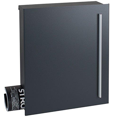 Design-Briefkasten anthrazit-grau (RAL 7016) MOCAVI Box 110 Postkasten mit Zeitungsfach groß Wand-Briefkasten mit Zeitungsrolle moderner Briefkasten rostfrei DIN A4