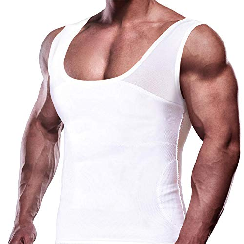 GKVK Mens Compression Shirt to Hide Gynecomastia Moobs Chest Slimming Tank Top Body Shaper Undershirt, white, X-Large