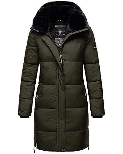 MARIKOO Damen Winter Jacke Parka Mantel Steppmantel Premium Kunstpelz Kragen Streliziaa Dunkel Olivgrün 40 - L