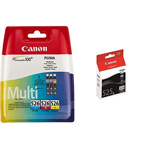 Canon CLI-526 Cartouche C/M/Y Multipack Cyan, Magenta, Jaune (Multipack Plastique sécurisé) & PGI-525 Cartouche BK Noire (Emballage Carton)