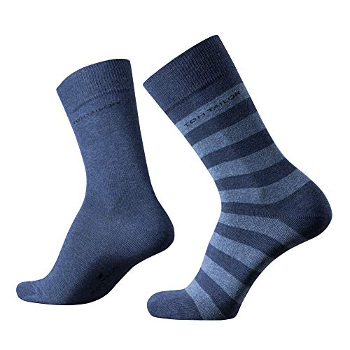 TOM TAILOR Herren Socken New Stripe indigo blau Doppelpack gestreift + uni, Size:43-46