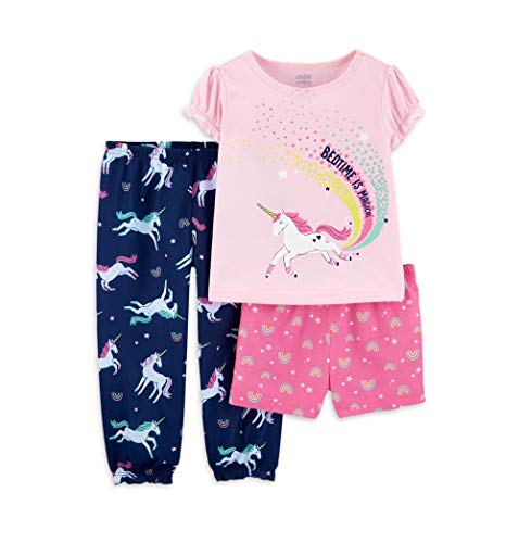 Child of Mine by Carters Toddler Girl Short Sleeve Poly Pajamas, 3pc Set
