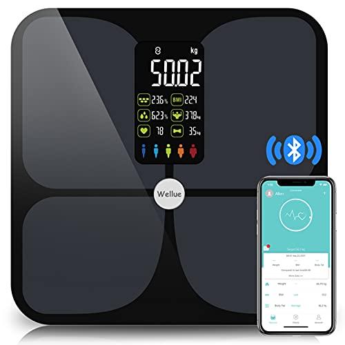 Balance Pèse Personne Connectée,Balance Impedancemetre Lescale,Pese Personnes Impedancemetre Professionnel,Grand écran ,Rythme Cardiaque,ITO,kg/lb/st