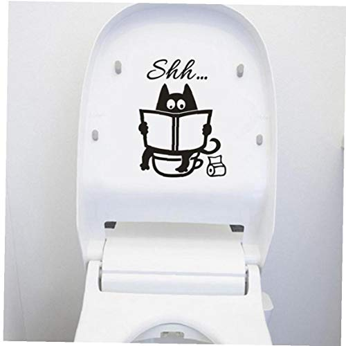 Byfri Pegatina de la Etiqueta engomada WC en el Inodoro Tapa del Gato Lindo Shh WC extraíbles del Vinilo del Arte casero Mural Decoración para Habitaciones de Pegatinas de Pared