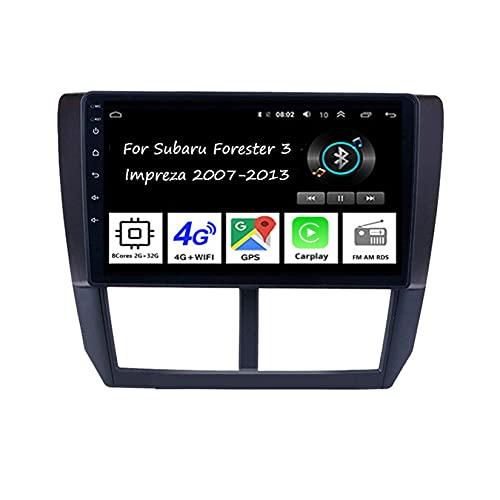 WJYCGFKJ Android Car Player Radio 9 Pulgadas Pantalla táctil Radio Navegación GPS para Subaru Forester 2007-2013 Car Radio Car Accesorios Plug and Play Soporta Control del Volante, 8 núcleos 2G + 32G