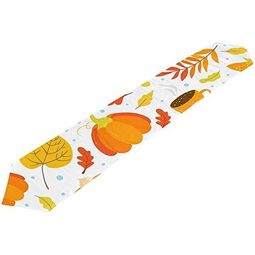 Sunnee-shop Thanksgiving Day Maple Leaves Turkije pompoen herfst tafelloper doek voor keuken eettafels