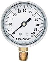 Ashcroft 30,052.5 Commercial Gauge with Bottom Connection, 60 psi, 2-1/2