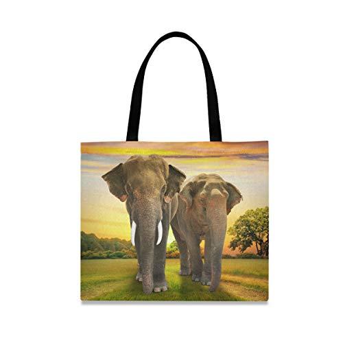 LZXO Canvas-Tragetasche, Tiermotiv, Elefant, Sonnenuntergang, Wald, Natur, langer Griff, wiederverwendbar, Einkaufstasche mit Innentasche für Damen und Mädchen