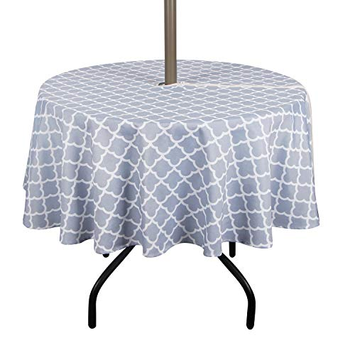 ColorBird Elegant Trellis Outdoor Tablecloth Waterproof Spillproof Polyester Fabric Table Cover with Zipper Umbrella Hole for Patio Garden Tabletop Decor (60' Round, Zippered, Light Gray)
