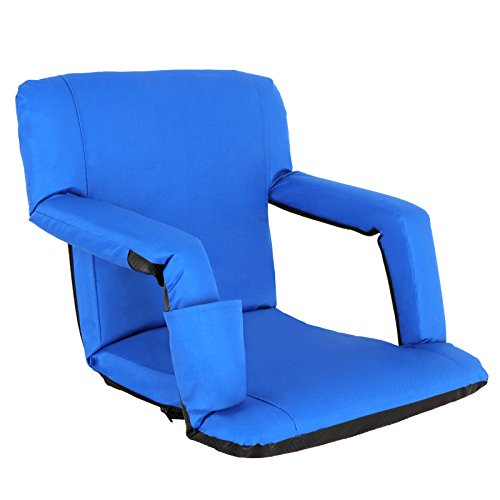 Nova Microdermabrasion Portable Stadium Seat Chair Reclining Seat for Bench Bleachers W Padded Cushion Shoulder Straps - 6 Reclining Positions - Water Resistant (Blue)
