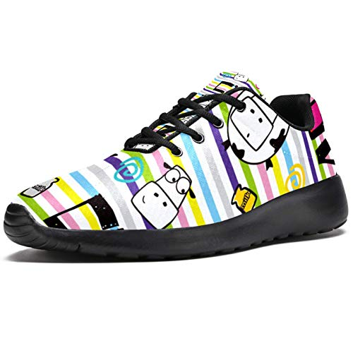 Zapatillas de correr para mujer con rayas coloridas con corona de leche de vaca, zapatillas de deporte de malla, transpirables, para caminar, senderismo, tenis, color, talla 40 EU