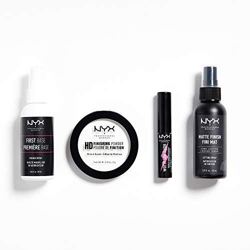 NYX Professional Makeup Travel Kit, Primer Spray, Finishing Powder, Mini Mascara, Setting Spray, 4-teiliges Makeup-Set