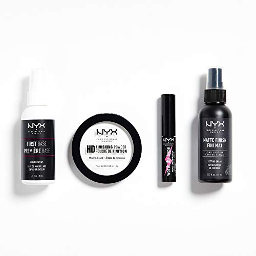 NYX Professional Makeup Kit de viaje Travel Kit, Set de maquillaje de 4 piezas: primer en spray, polvos fijadores, mini máscara de pestañas, spray fijador