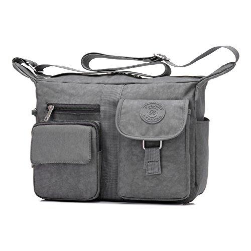Women's Shoulder Bags Casual Handbag Travel Bag Messenger Cross Body Nylon Bags Gray