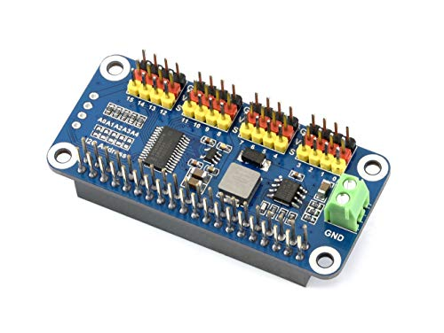 Waveshare 16-Channel PWM Output Servo Driver HAT for Raspberry Pi 12-bit I2C Interface with VIN Terminal