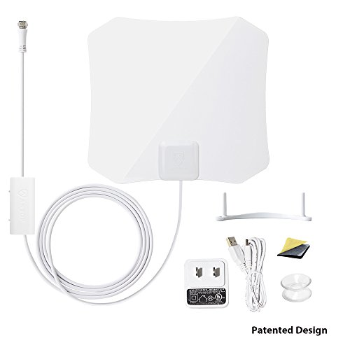 ANTOP Amplified Digital TV Antenna Indoor 30/45 Mile Long Range with Builtin Smart Switch Amplifier and 10ft Coaxial Cable AT132B