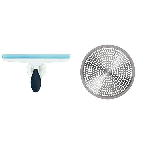 OXO Good Grips All-Purpose Squeegee & Good Grips Easy Clean Shower Stall Drain Protector - Stainless Steel & Silicone