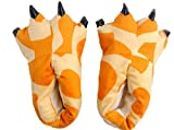 Gebaozhen Stuffed Animal Claw Slippers,Monster Paw Slippers,Fun Costume Play & Everyday Furry Animal Plush Paw for Kids & Adults Wear (M, Giraffe Pattern)