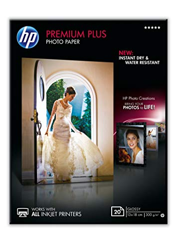 HP Premium Plus CR676A - Papel Fotográfico Brillante (20 Hojas, 13 x 18 cm), Blanco