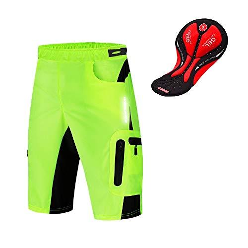 WOSAWE Pantaloncini MTB Uomo, Leggeri Bicicletta Loose-Fit Shorts Traspirante 3D Gel Imbottito Biancheria Intima da Ciclismo (Verde XL)