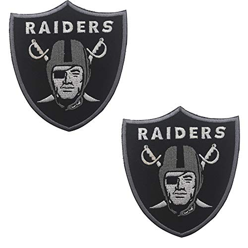 Oakland Raiders Football Team Logo Chaqueta Camiseta Parche Bordado Tactical Military Moral Hook and Loop Sujetadores Parches de respaldo Insignia Emblema Letrero 3.54 x 3.15 pulgadas 2PCS