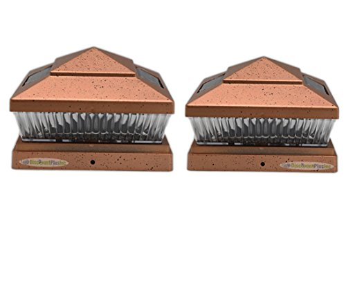 6X6 Outdoor Solar Powered Copper Color Fence Post Cap Deck Railing Lights For 6x6 Wood Post With 5-SMD LED's (2-Pack)