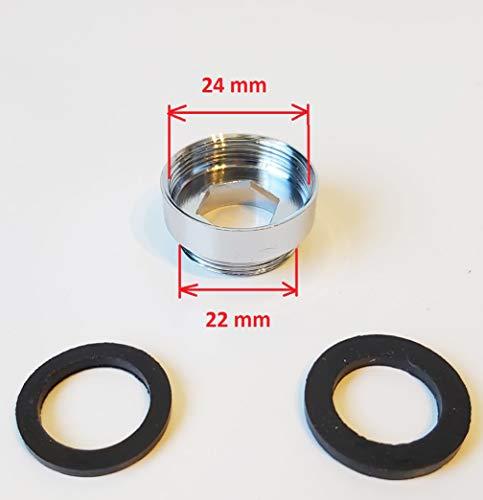 Metalen stekker binnen/buiten voor het aansluiten van Geyser Euro-filter, 16/18/19/20/22/24 mm, aansluiting voor kraan, voor het aansluiten van een waterfilter of luchttoestel. 24/22 mm Metaal