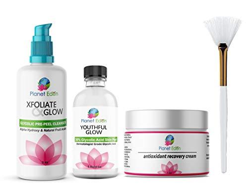 Planet Eden 30% Glycolic Acid Chemical Skin Peel Kit + Glycolic Acid Pre-Peel Cleanser + Antioxidant Recovery Cream + Treatment Fan Brush