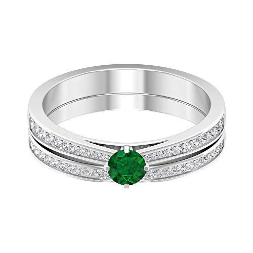 Anillo solitario de esmeralda de 4,00 mm, anillo de eternidad de diamante HI-SI, juego de anillos de novia de oro (calidad AAA), oro de 14 quilates, Metal, Diamond Emerald,
