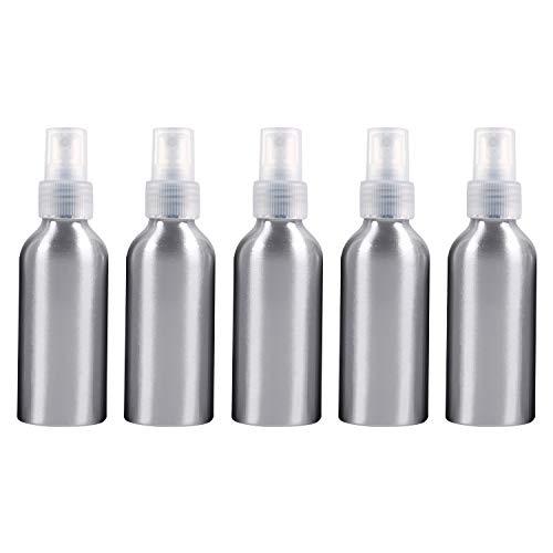 PAN-FR Bouteilles cosmétiques, 5 Bouteilles en Verre Rechargeables de Brume Fine de PCS pulvérisateur en Aluminium, 120ml Bouteilles de Rechange (Couleur : Transparent)