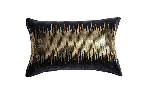 Eternal Beauty Pailletten-Kissenbezüge, 2 Stück, dekorative schwarz-goldene Zierkissenbezüge, quadratisch, glitzernder Kissenbezug für Heimdekoration mit verdecktem Reißverschluss, 30 x 50 cm
